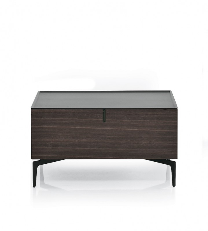 Contemporary European Design Elana Nightstand Large Compartment Chest-Shape Low to the Ground Style