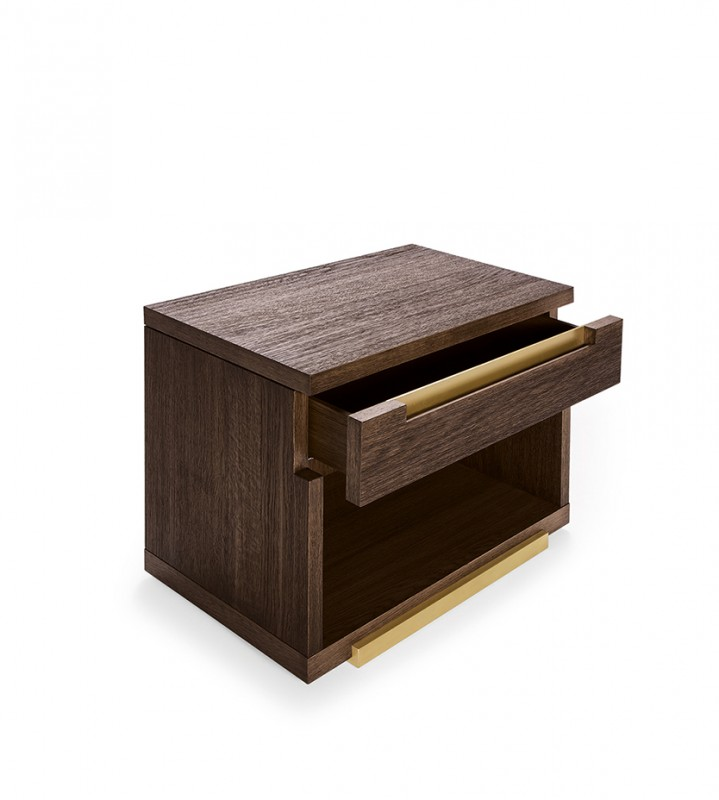 Classic modern design sloan nightstand with one drawer and open compartment for storage; metal detailing and custom oak finish