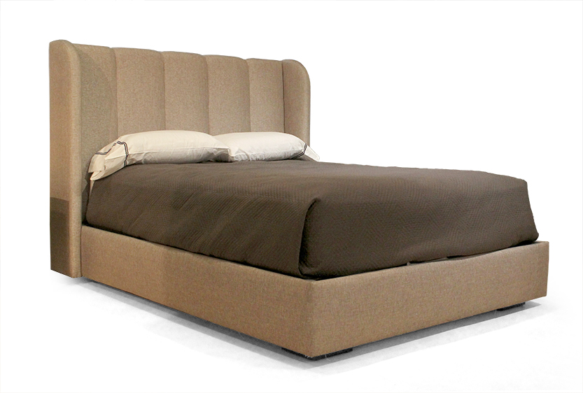 Modern Furniture Makers at Cliff Young Render Jillian Bed with Fully Upholstered Platform and Channeled Headboard with Classically Styled Wings