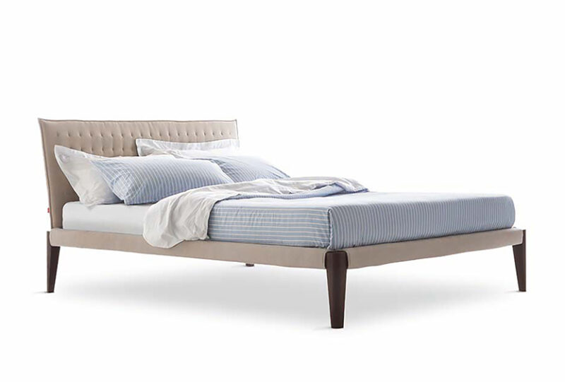 Modern bed Design Piero with Thin Upholstered Platform Supported by Burnt Oak Legs and Frame