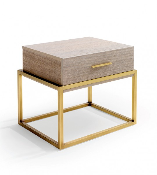 Contemporary bedroom furniture telo nghtstand with slim metal base framing chest-like drawer