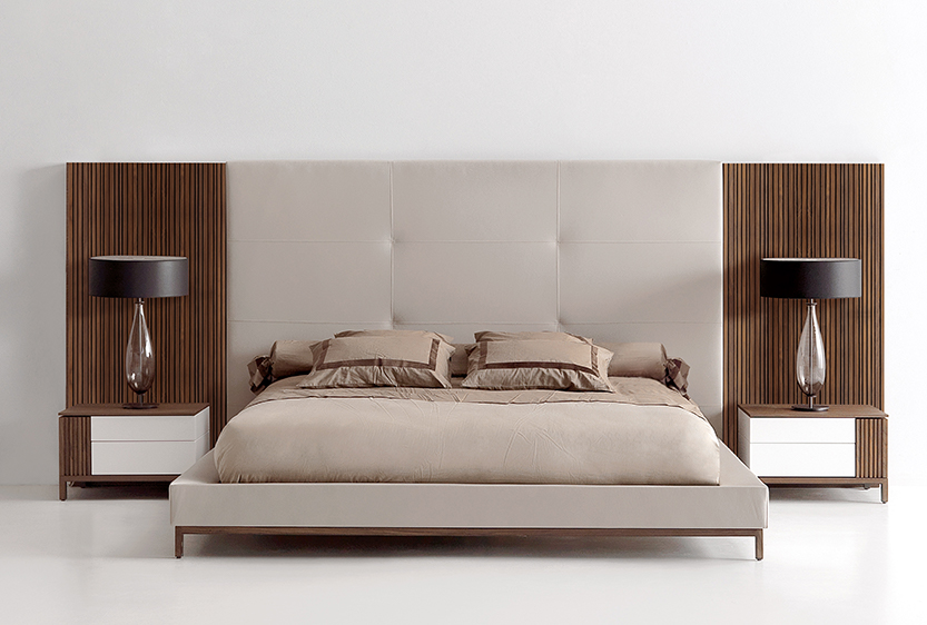 NYC Furniture Showroom Bed High Headboard Fully Upholstered with Raised Platform