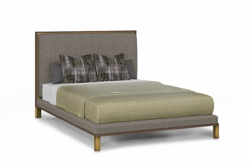 Signature Anna Bed Custom Bedroom Furniture Bed with High Headboard Upholstered with Metal Inlaid Raised Platform 1