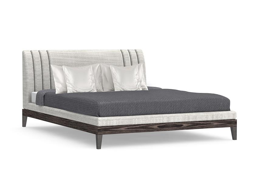 Signature Cassidy Bed Custom Modern Furniture Cerused Ash Platform Upholstered Headboard