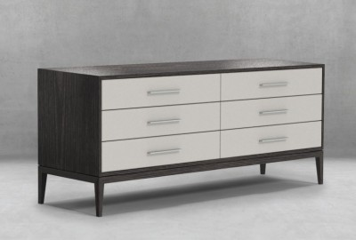 Custom Modern Bedroom Furniture Cassidy Dresser Upholstered Drawer Fronts with hammered Steel Handles16
