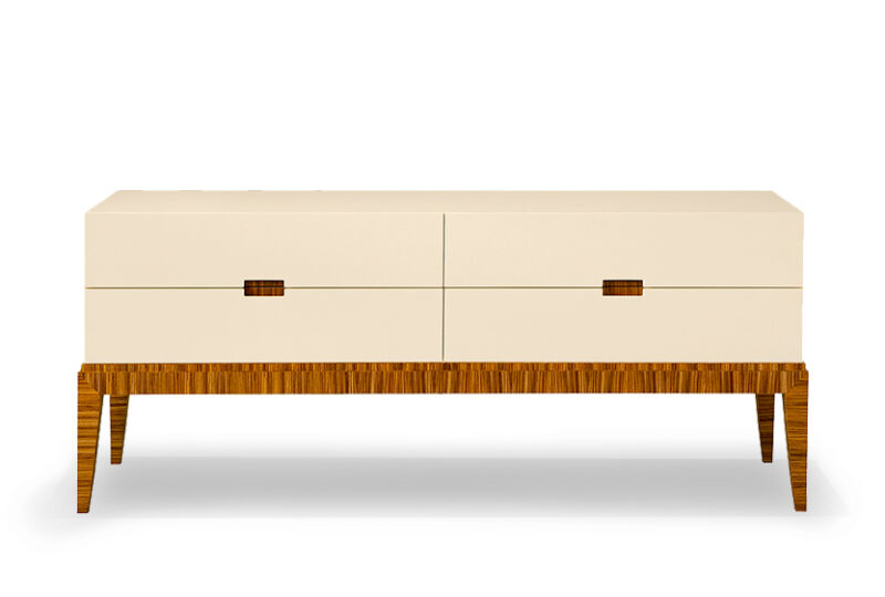 Modern Art Deco Dresser with Stained Wooden Legs Raising Drawers High