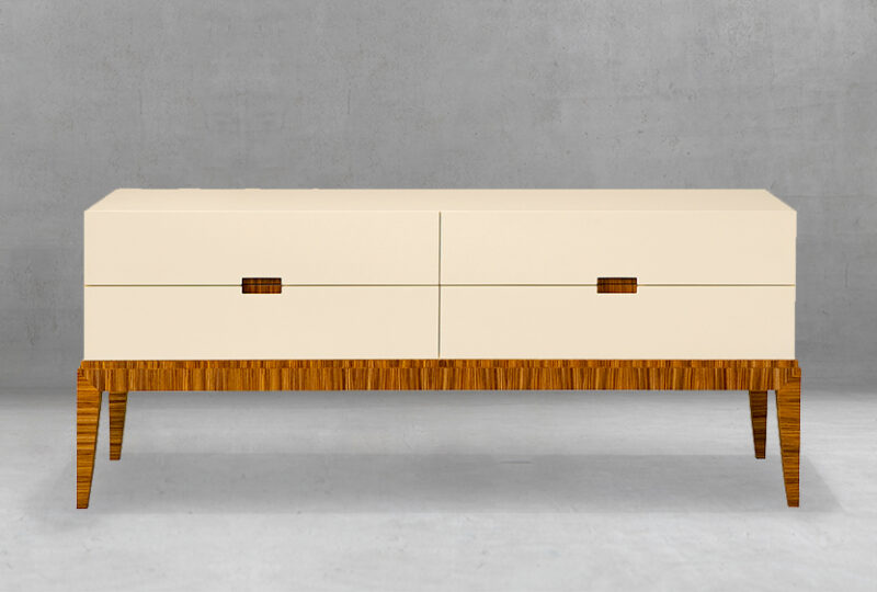 Modern Art Deco Dresser with Stained Wooden Legs Raising Drawers High4