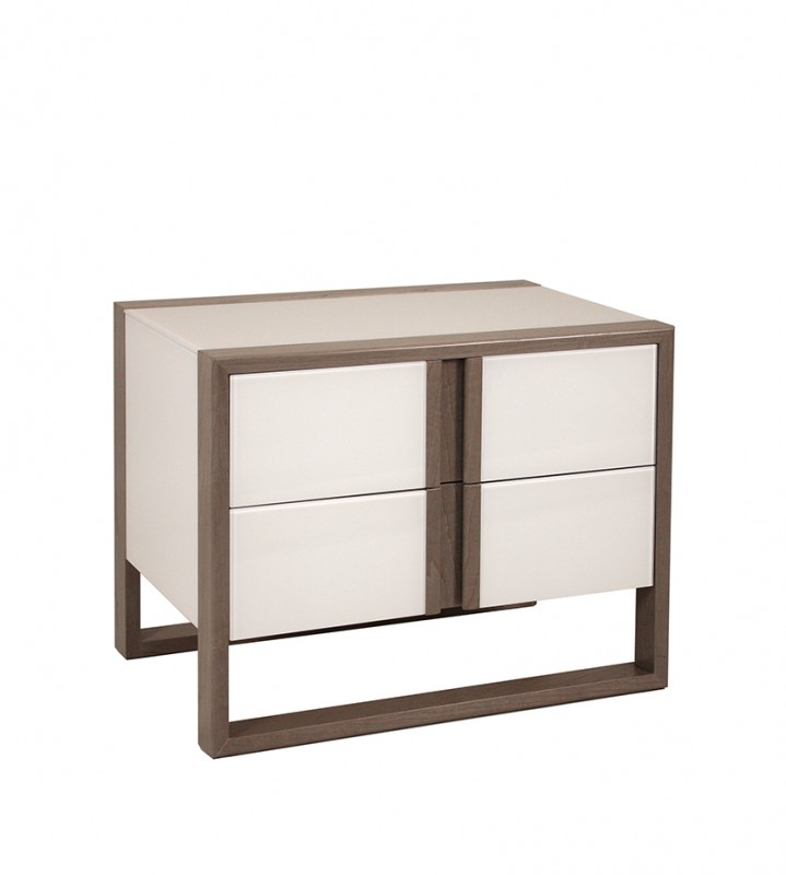 Contemporary Bedroom Accessory Luxury Design Nightstand with Striking Geometric Face, Two Drawers and Sled Base 4