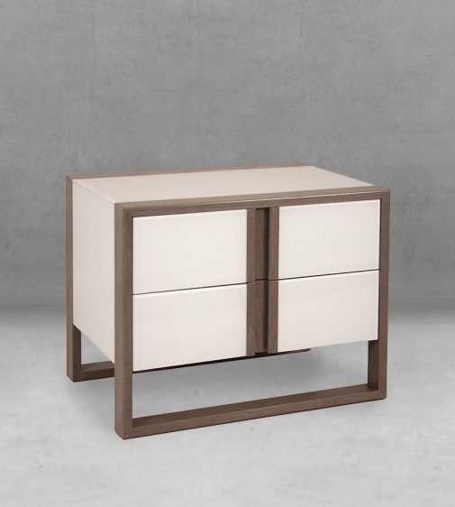 Contemporary Bedroom Accessory Luxury Design Nightstand with Striking Geometric Face, Two Drawers and Sled Base 6