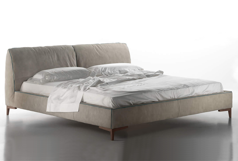 Custom Contemporary Bedroom Design in Dino Bed with Thiick, Upholstered Headboard and Raised Platform