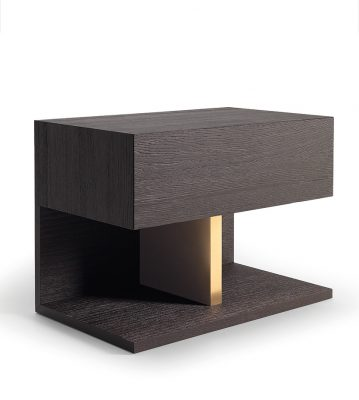 European design Fly nightstand with think unbroken base and back and concealed drawer within thick table top