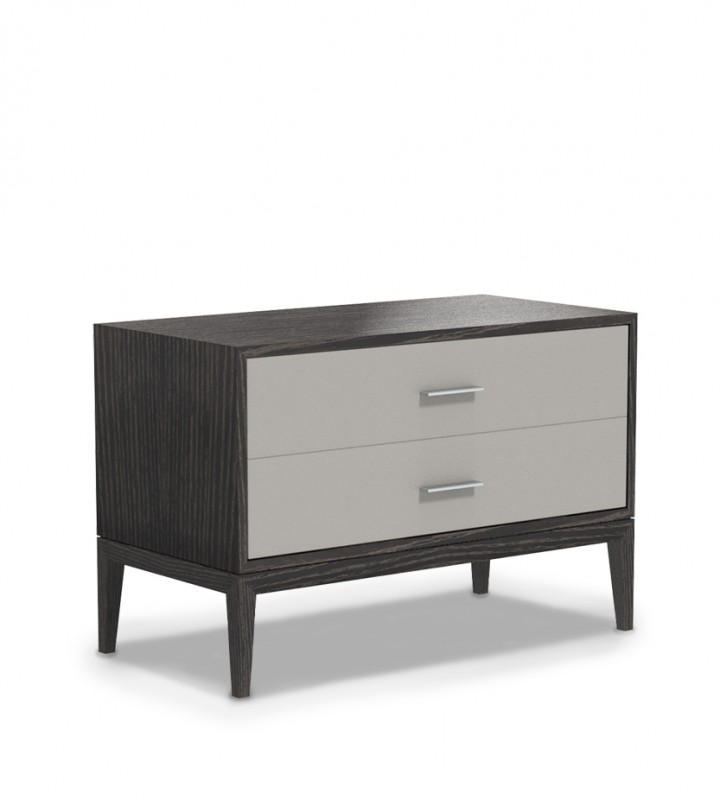 Contemporary nightstand design two drawer design upholstered face