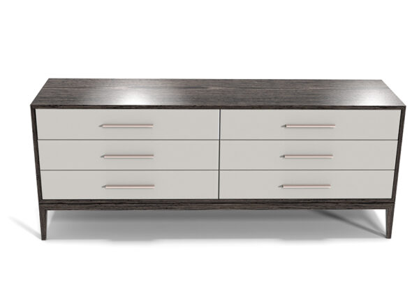 Custom Modern Bedroom Furniture Cassidy Dresser Upholstered Drawer Fronts with hammered Steel Handles11