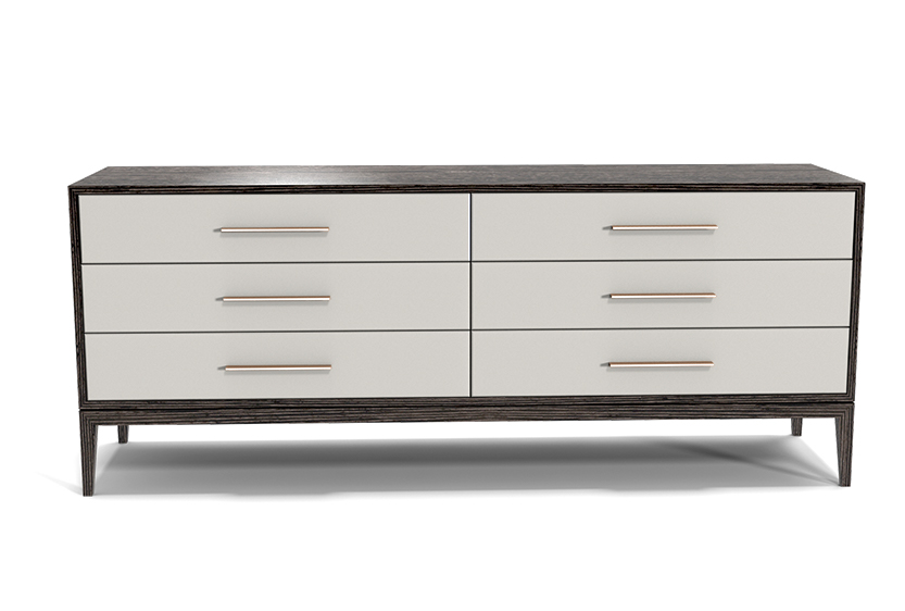 Custom Modern Bedroom Furniture Cassidy Dresser Upholstered Drawer Fronts with hammered Steel Handles6