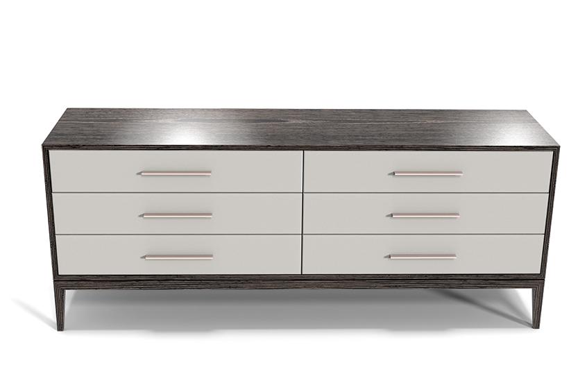 Custom Modern Bedroom Furniture Cassidy Dresser Upholstered Drawer Fronts with hammered Steel Handles5