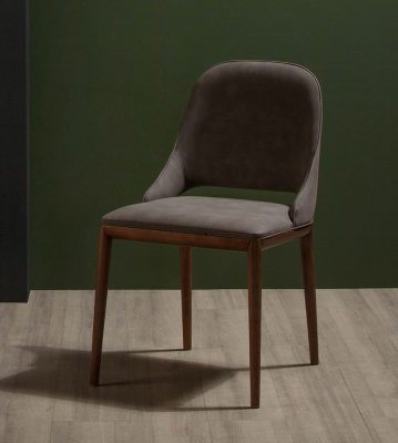Modern Dining Design Malva Chair with Winged back and Eco Leather Covering with Thin Wooden Legs
