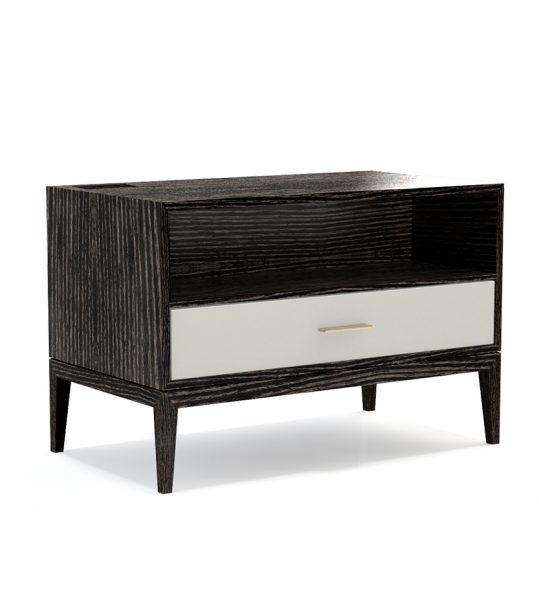 Contemporary Bedroom Design Nightstand Cassidy One Drawer with Space Above and Raised from Floor5