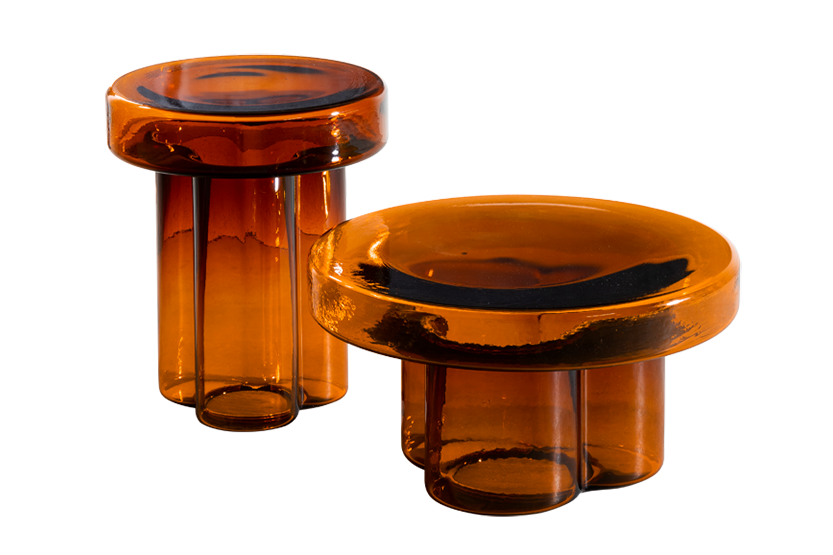 poppy large and small cocktail tables in amber