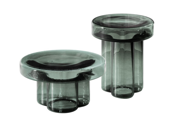 Poppy large and small cocktail tables in petrol green